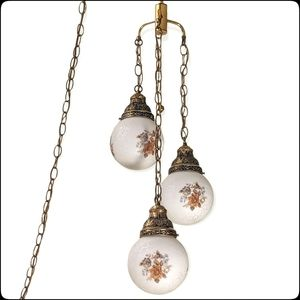 Mid-Century vtg 3 globe hanging pendant swag light